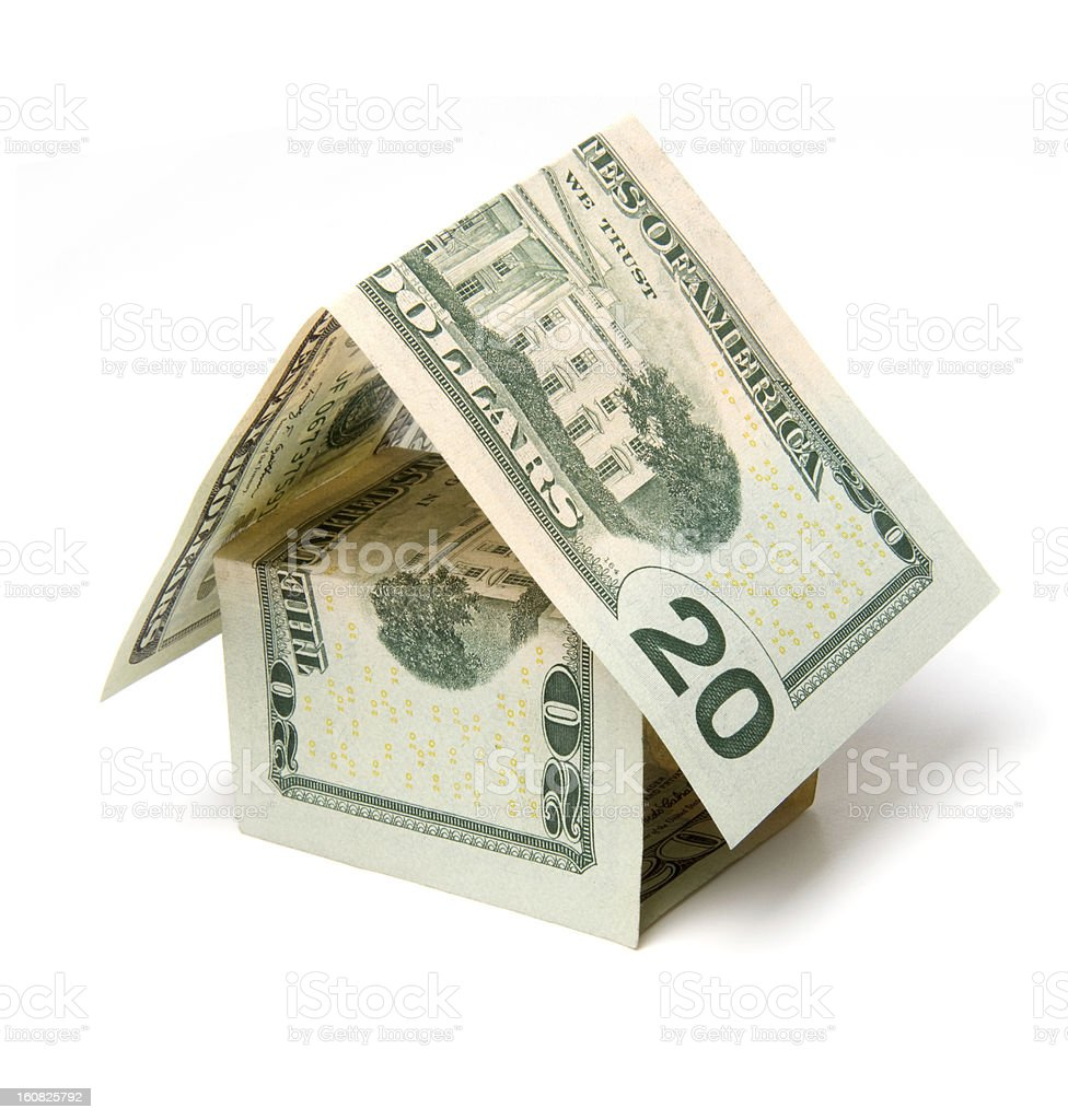 house  dollar bills - symbol of the mortgage lending royalty-free stock photo