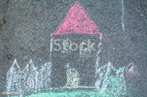 istock House draw with color chalk 479925158