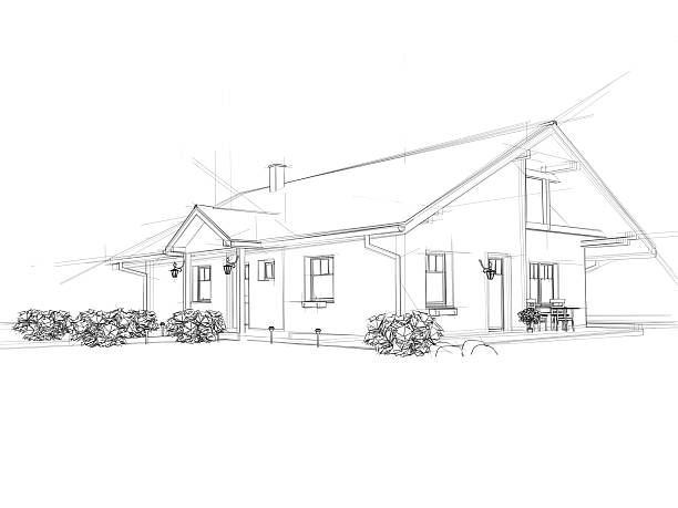 house drawing - sketch stock photos and pictures