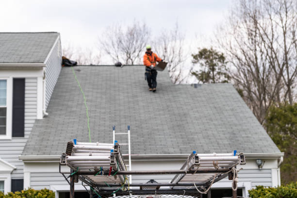 House during day over garage with truck, gray color Single Family Home and man walking on roof shingles and ladder during repair stock photo