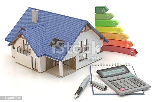 915688450istockphoto House Energy Efficiency II, 3D illustration 1140654710