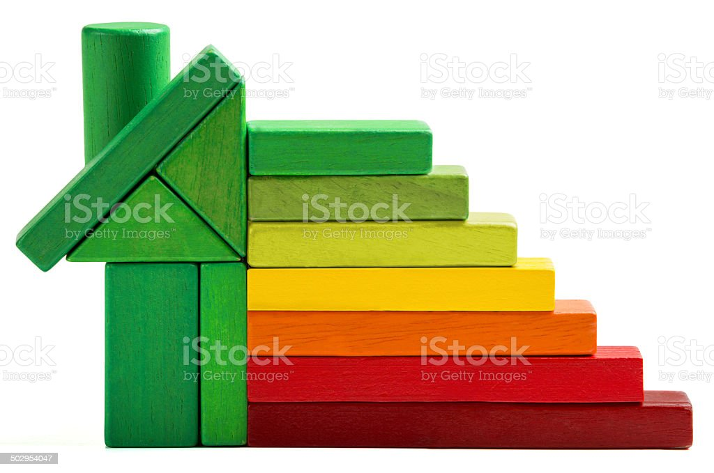 house energy efficiency rating, green home save heat and ecology stock photo