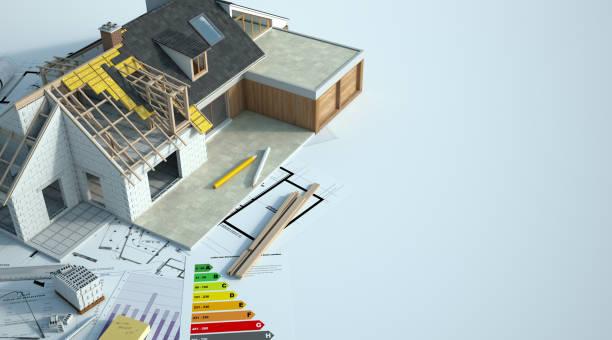 House enlargement works stock photo
