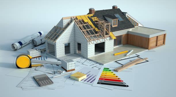 l'allargamento della casa funziona - costruire foto e immagini stock