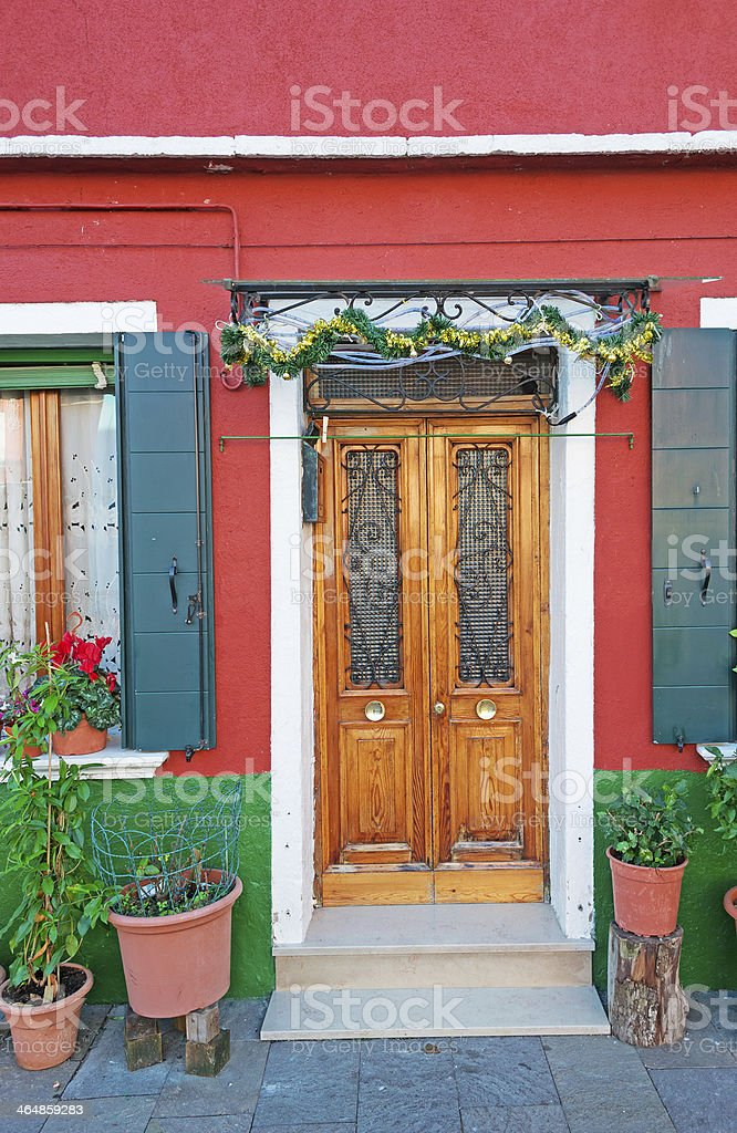 picturesque house entrance with Christmas decoration