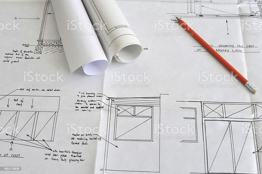 House extension building plans royalty-free stock photo