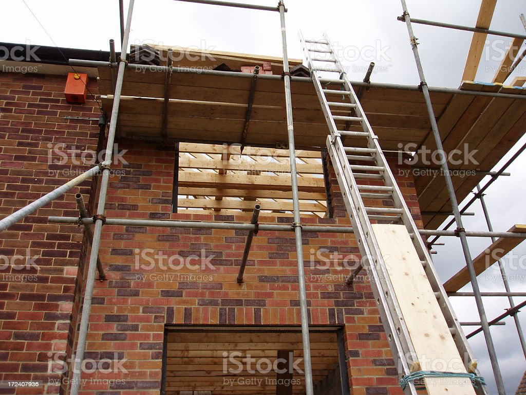 house extension construction in uk royalty-free stock photo