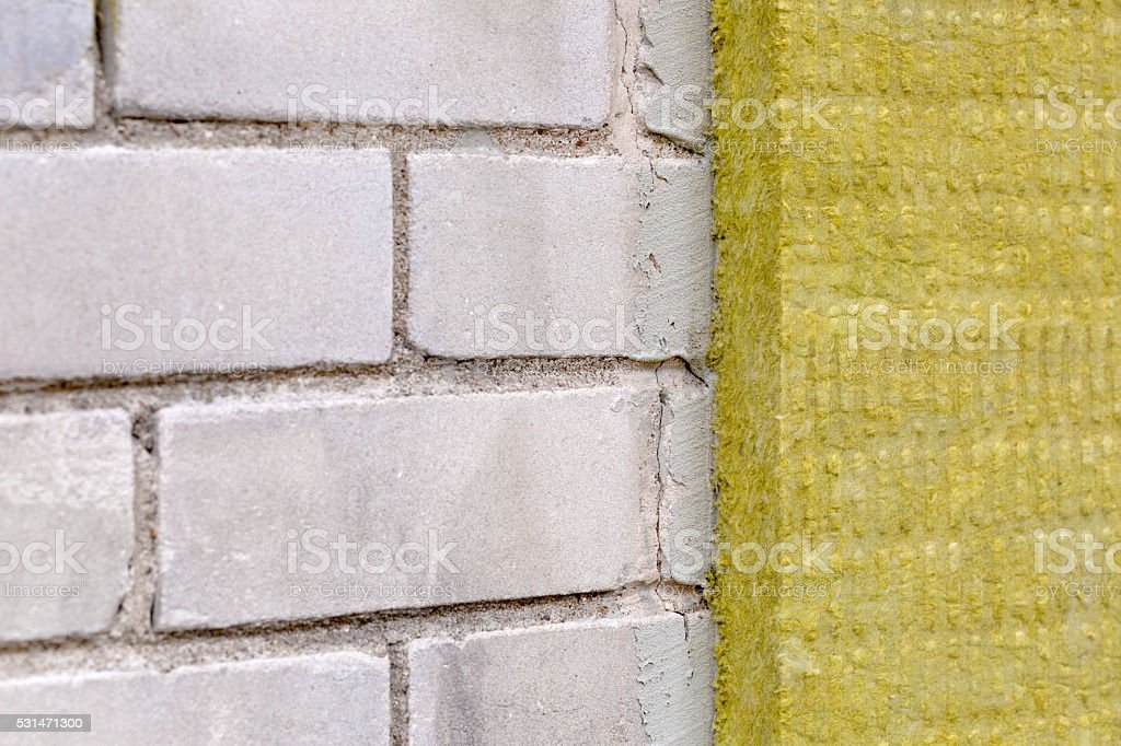 house exterior insualtion with mineral rock wool stock photo