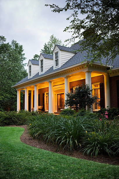House Exterior with Lights stock photo