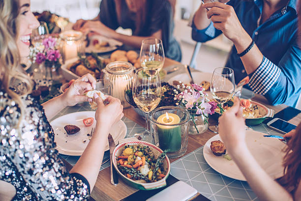 House feast for friends - foto stock