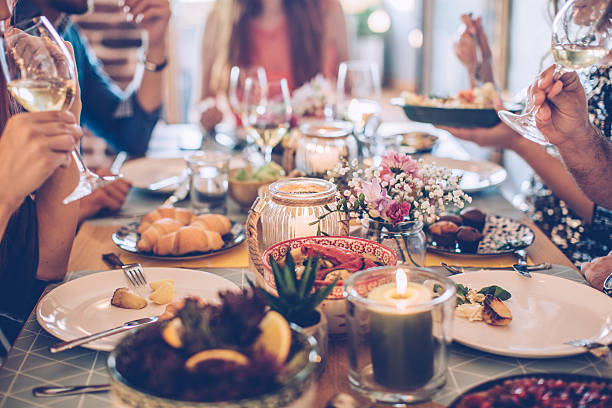 House feast for friends stock photo
