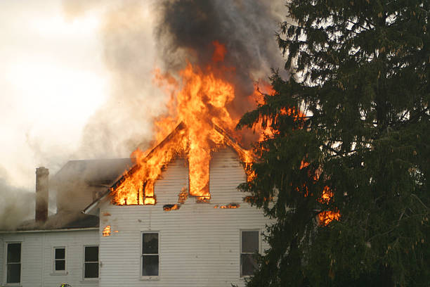 House Fire 1- Beavercreek, Dayton, Ohio. stock photo
