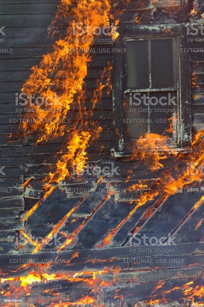 House fire stock photo