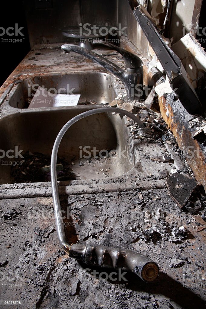 Superb House Fire Series Kitchen Sink Stock Photo Download Image Home Interior And Landscaping Palasignezvosmurscom
