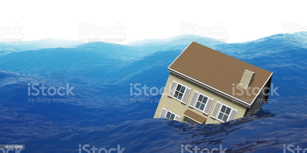 House floating in ocean during a flood stock photo