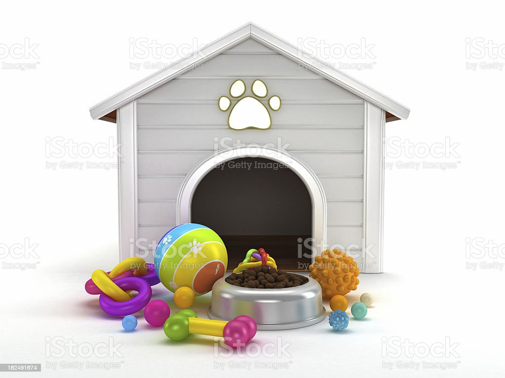 House, food and toys for the dog stock photo
