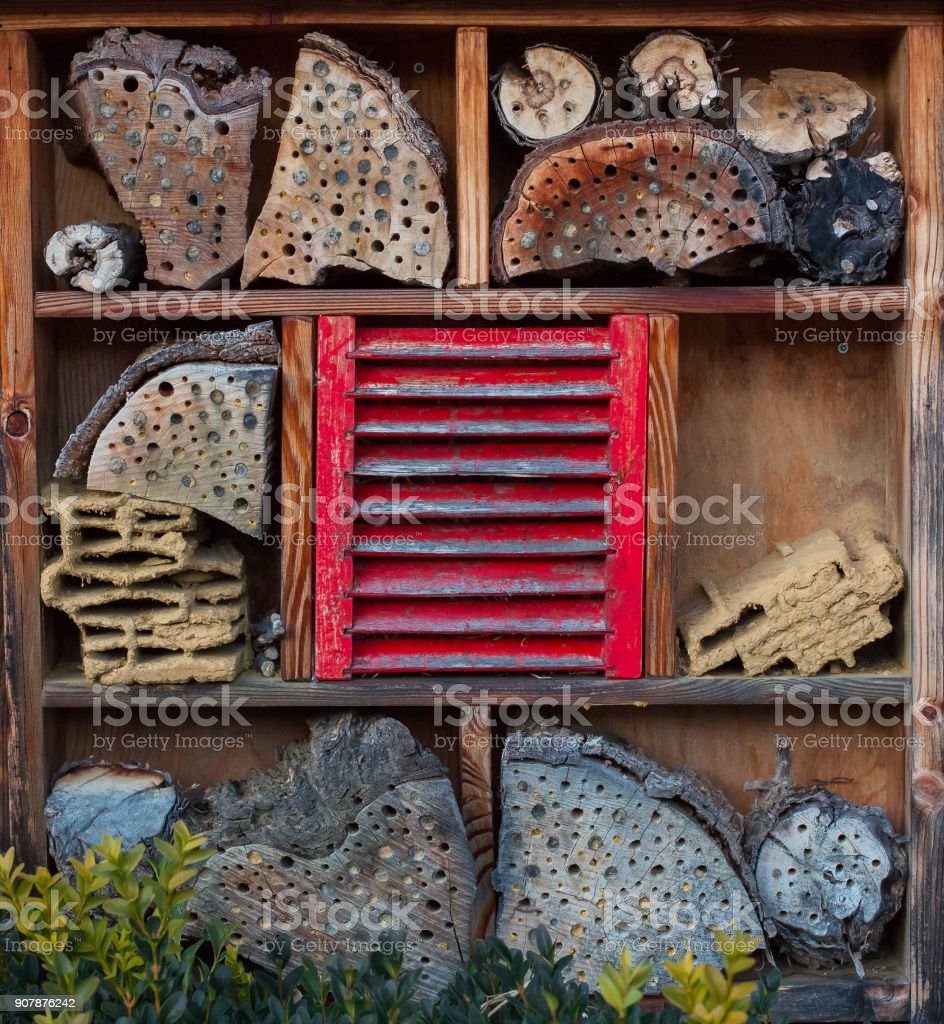 house for insects - Insect hotel stock photo