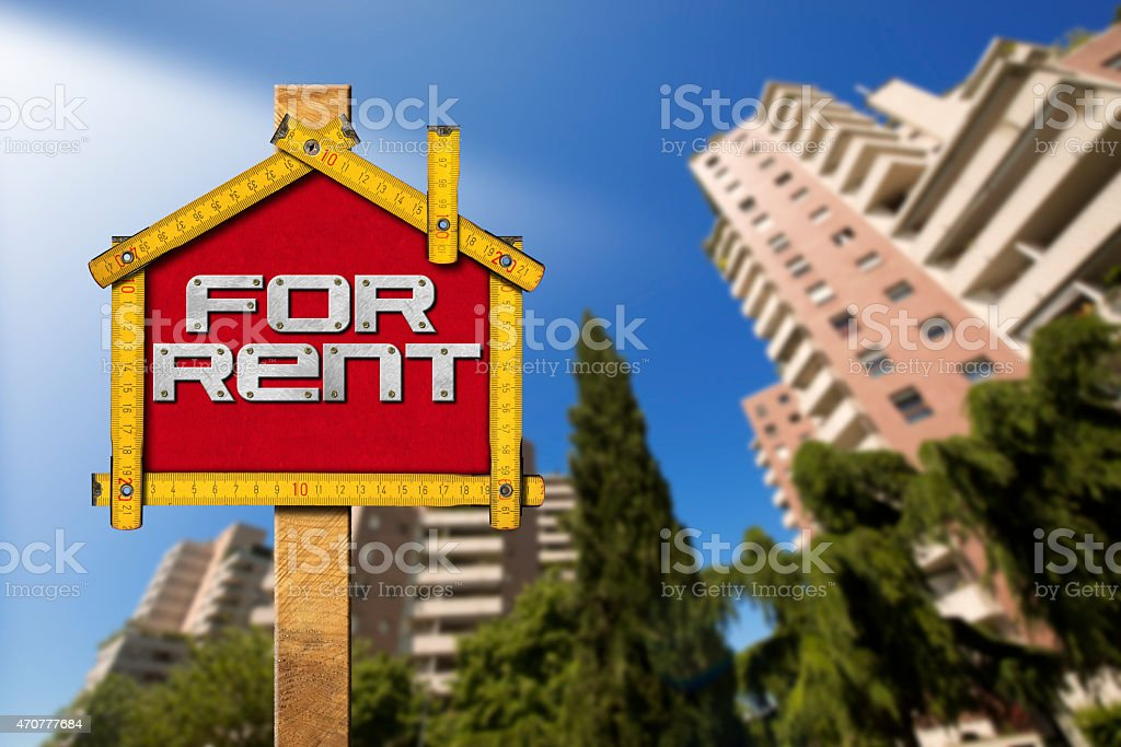 House For Rent Sign - Wooden Meter stock photo