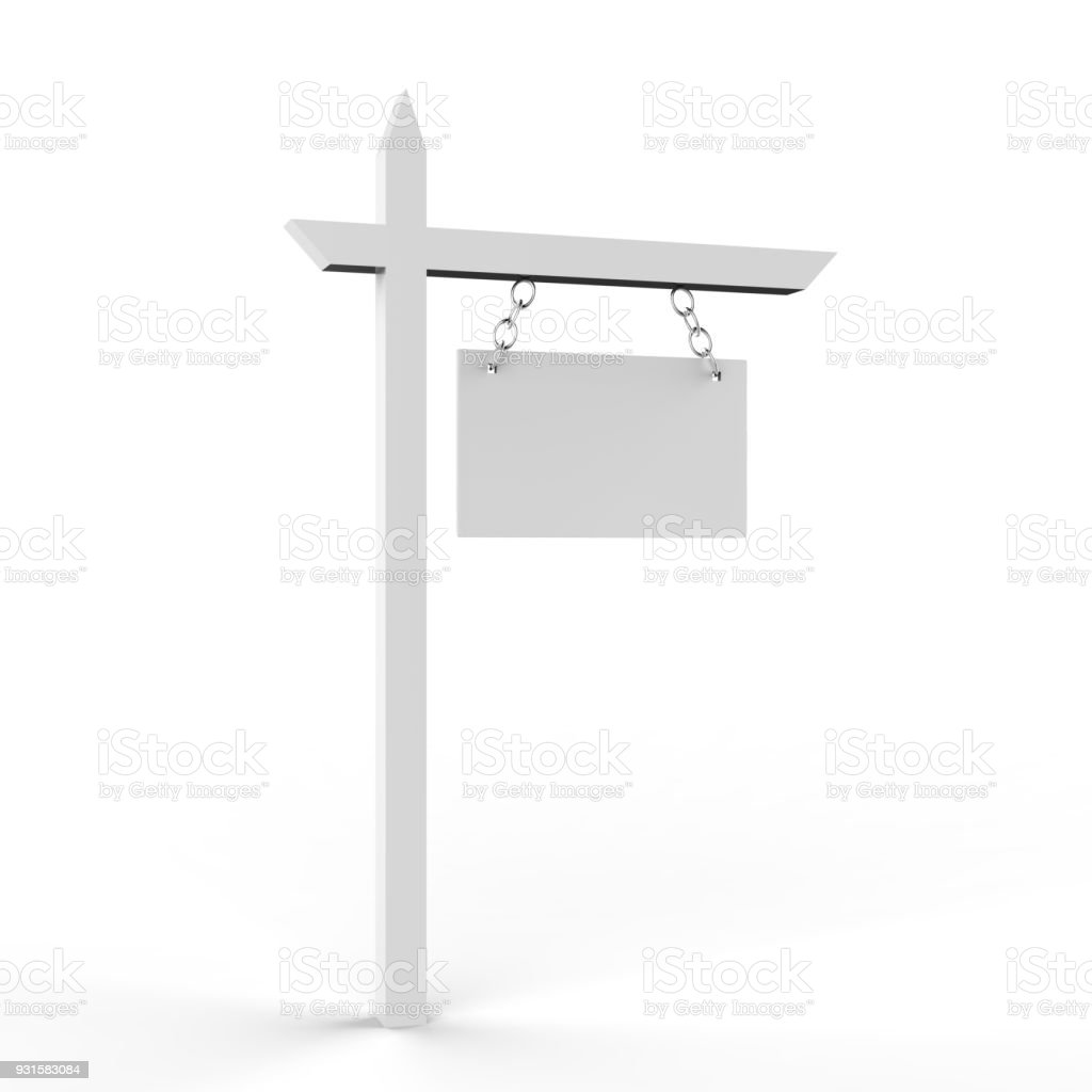 House for sale blank sign board stock photo