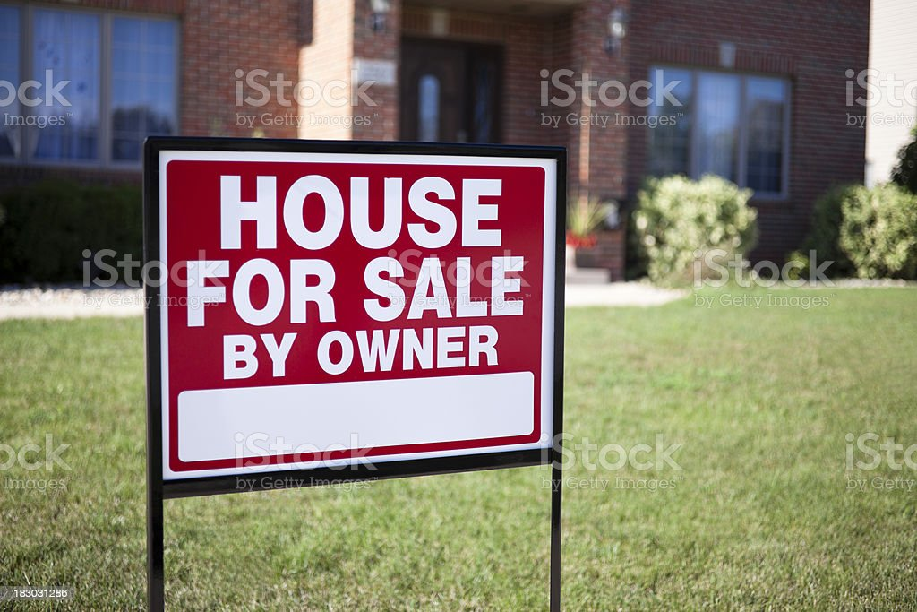 House For Sale By Owner Home Real Estate Sign royalty-free stock photo