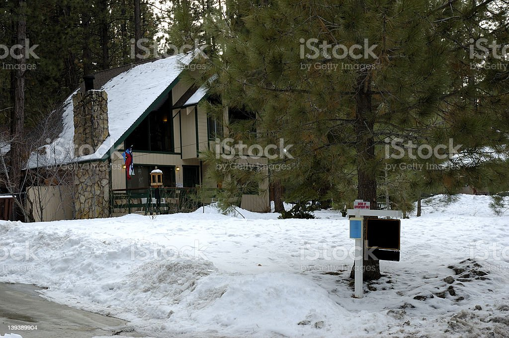 House for sale with empty sign stock photo