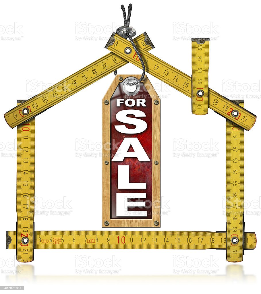 House For Sale - Wood Meter Tool royalty-free stock photo