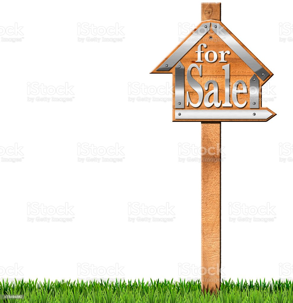 House For Sale Wooden Sign With Pole Stock Photo & More