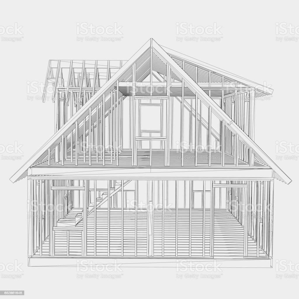 house frame illustration stock photo