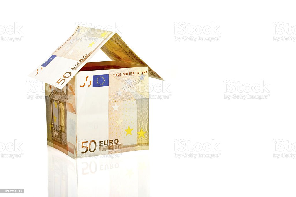 House from euro paper currency royalty-free stock photo