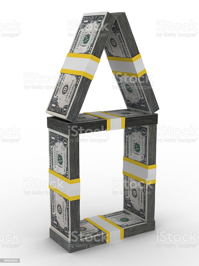 house from money on white background. Isolated 3D image royalty-free stock photo