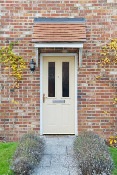 House Front Door and Garden Path stock photo
