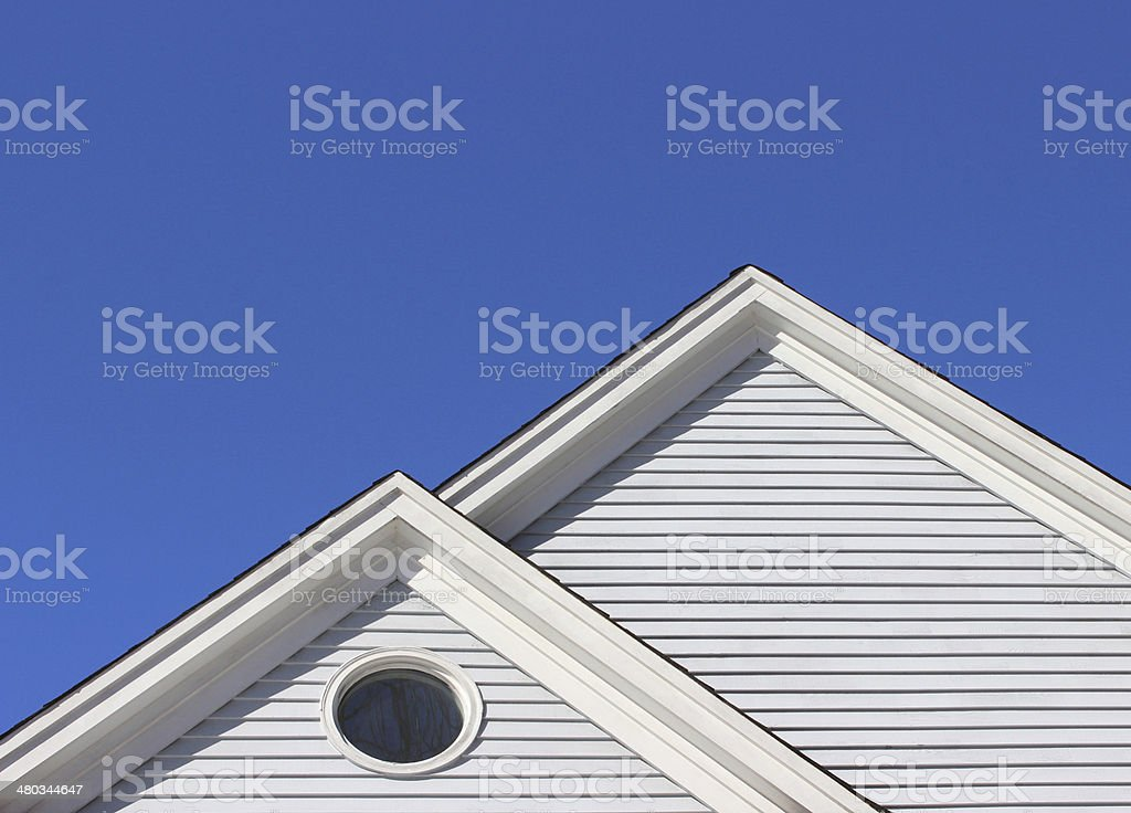 House Gable with Round Window stock photo