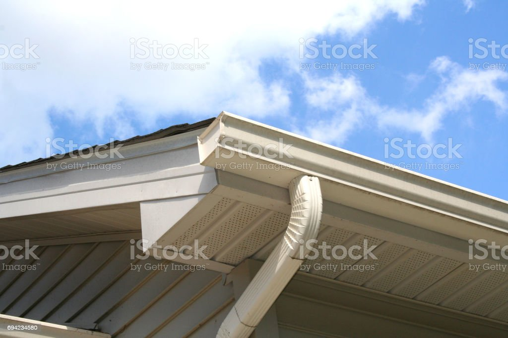 House Gutter and Downspout with Sky stock photo