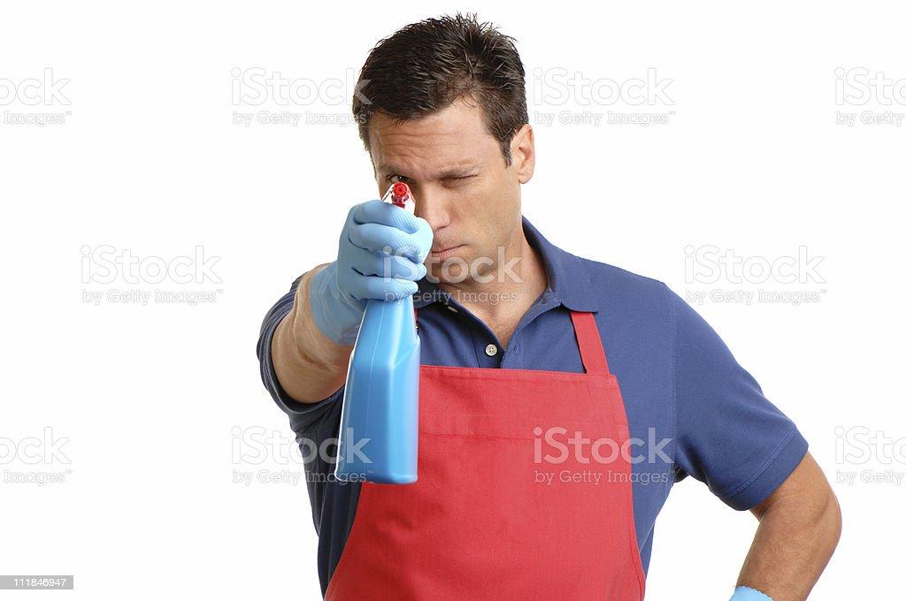 House Husband Maid Aiming Household Cleaner Spraybottle on White stock photo