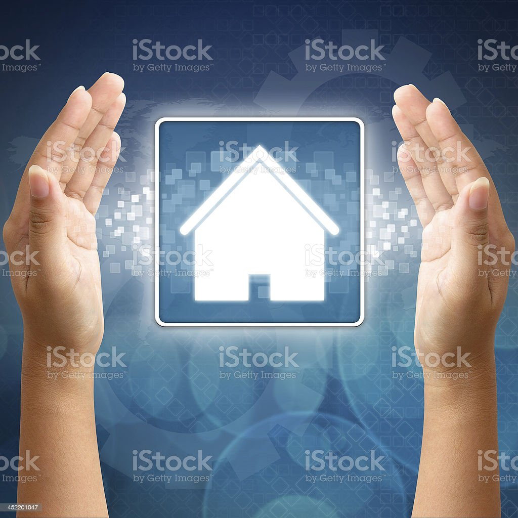 House icon in hand for business royalty-free stock photo