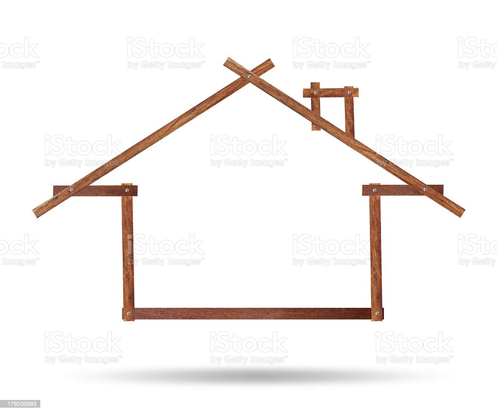 House icon made of wood on white background royalty-free stock photo