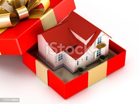 House in a giftbox isolated on white.Similar images: