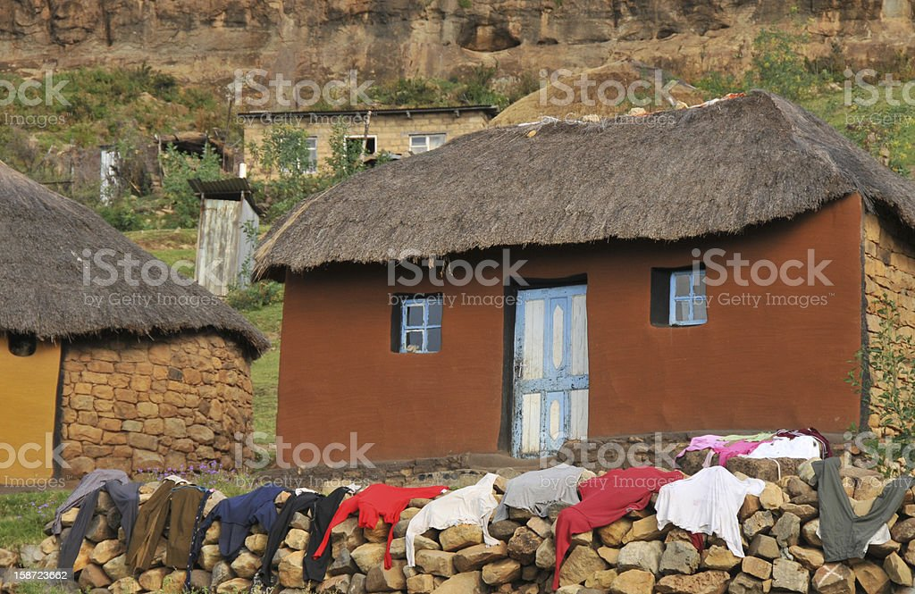 House in a village, Africa stock photo
