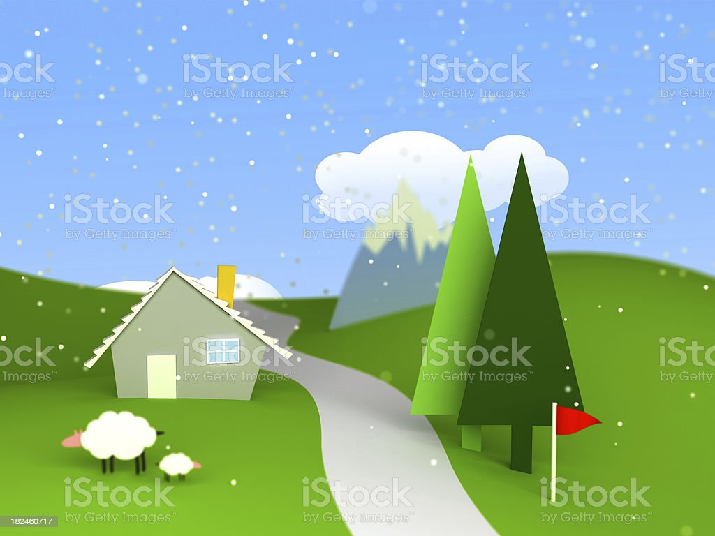 house in beautiful landscape royalty-free stock photo