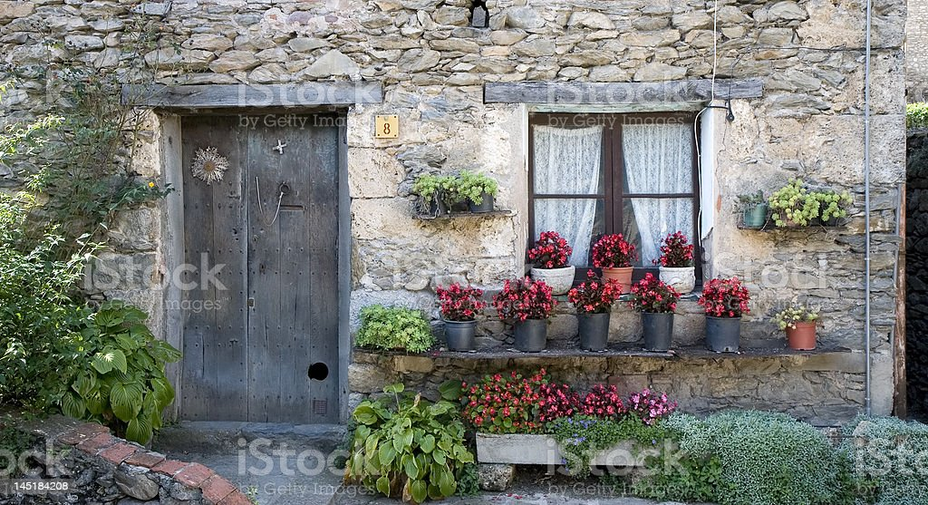 House in Beget, Catalonia stock photo