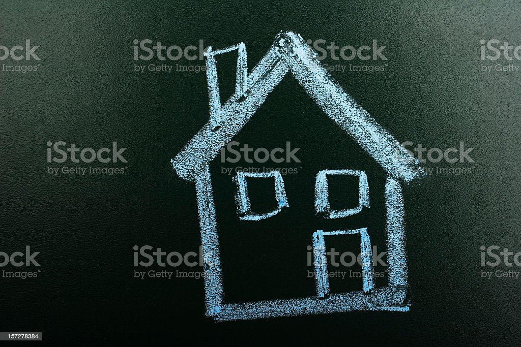 House in chalkboard royalty-free stock photo
