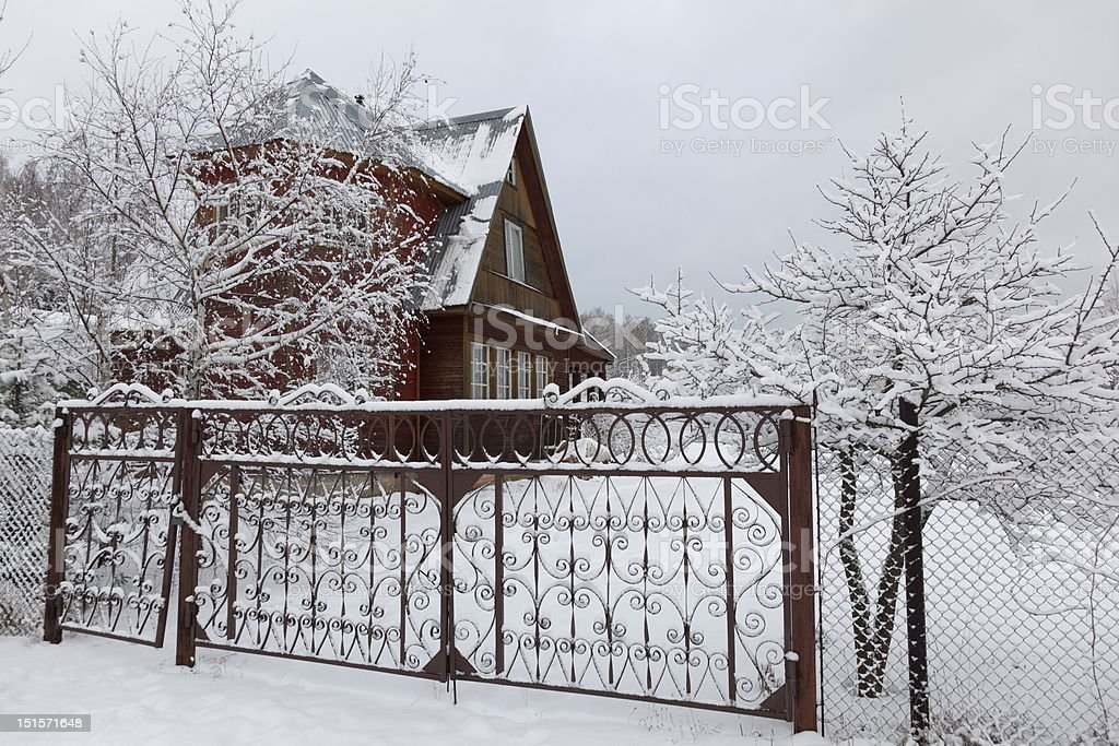 House in countryside after heavy snowfall. Moscow region. Russia. royalty-free stock photo