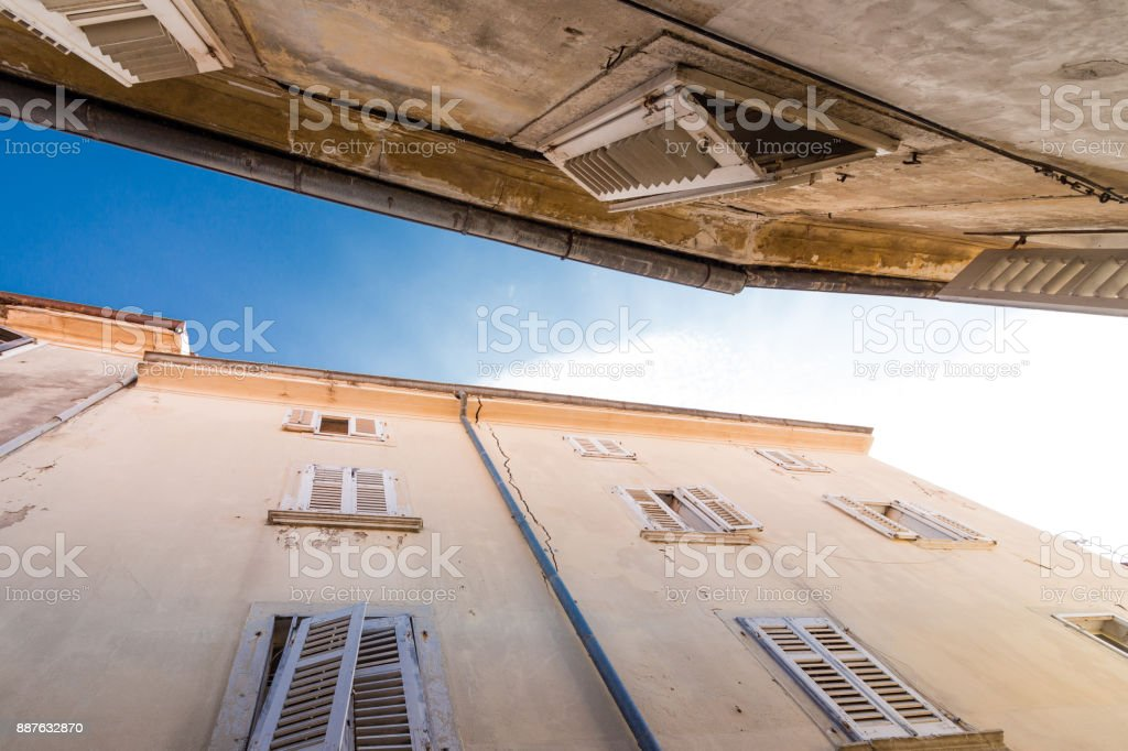 House in croatia with open shutters stock photo