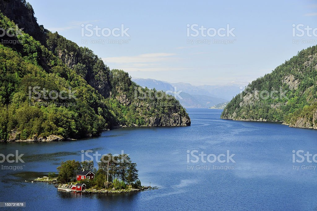 House in fjord island, Norway stock photo