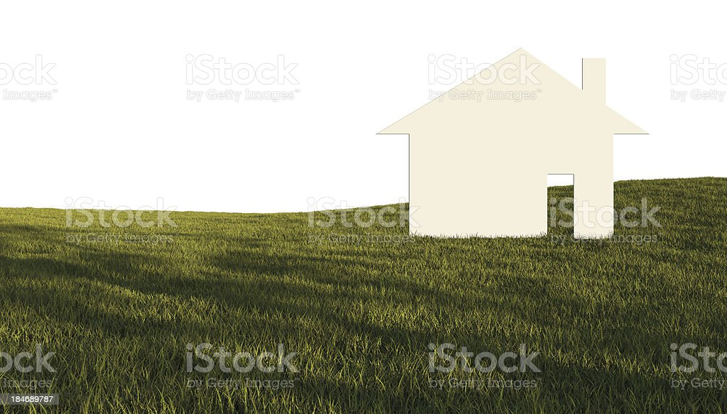House in green field stock photo