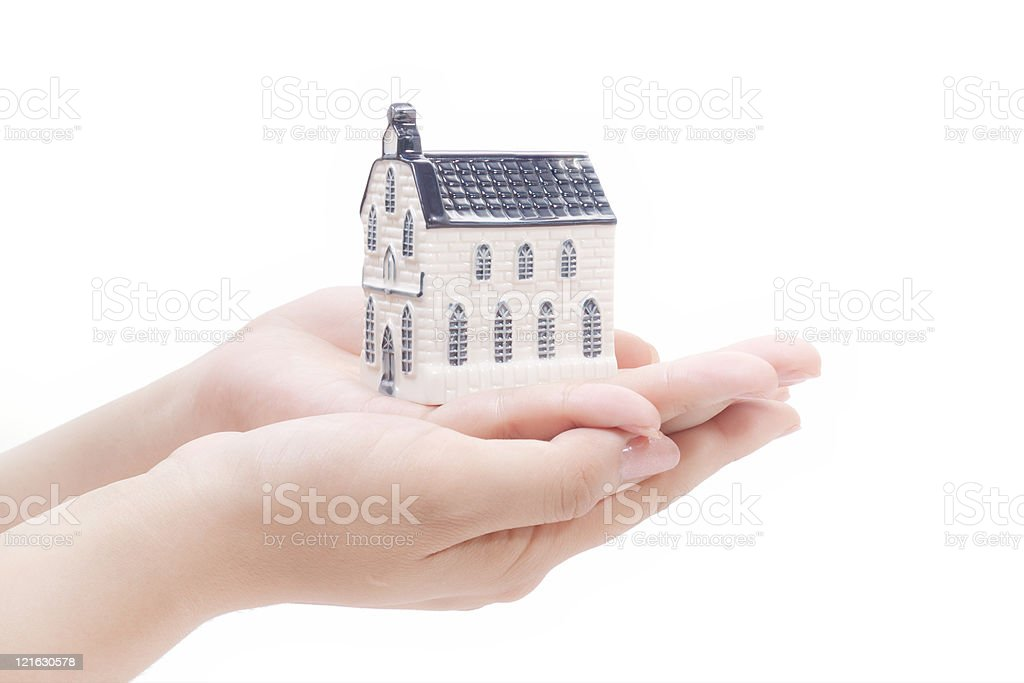 house in hands,real estate economy concepts, isolated on white royalty-free stock photo
