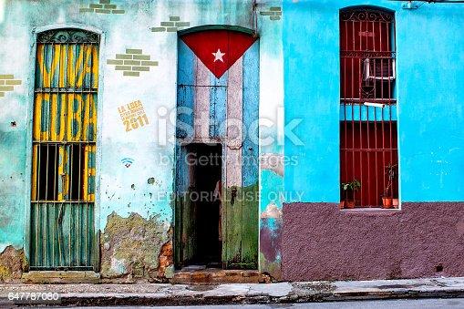 istock House in Havana with the Cuban flag 647787080