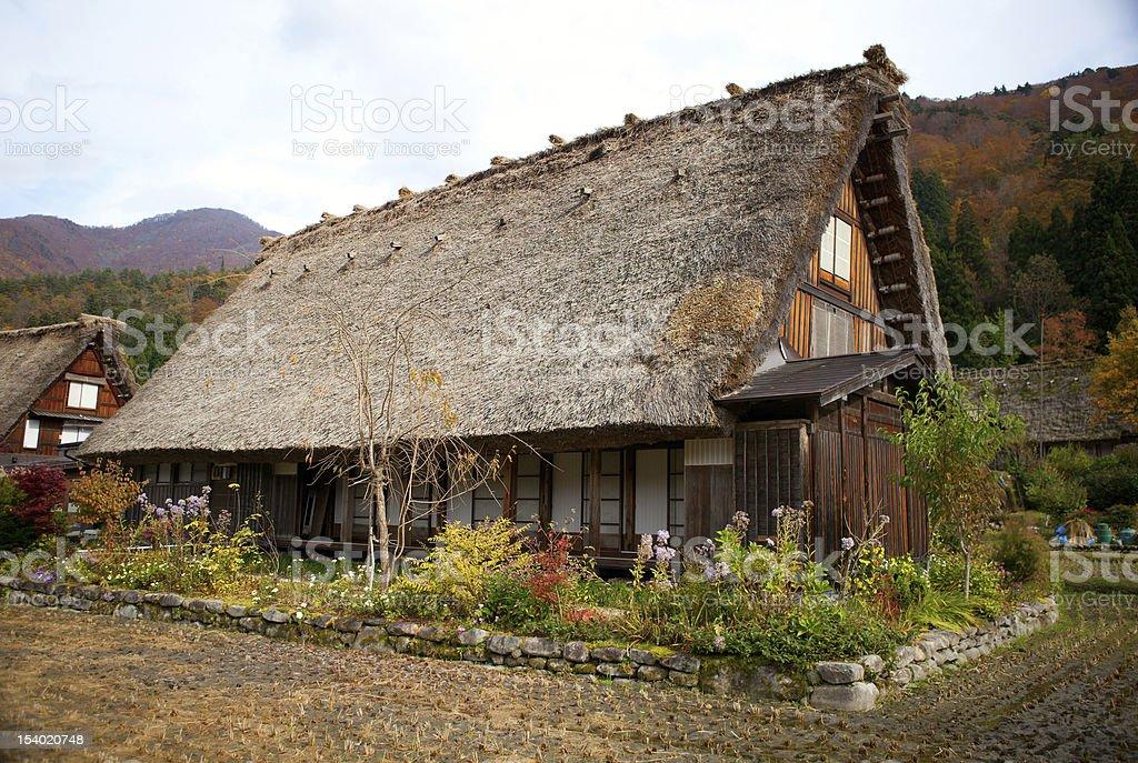 House in historic village Shirakawa-go, Gifu prefecture, Japan stock photo