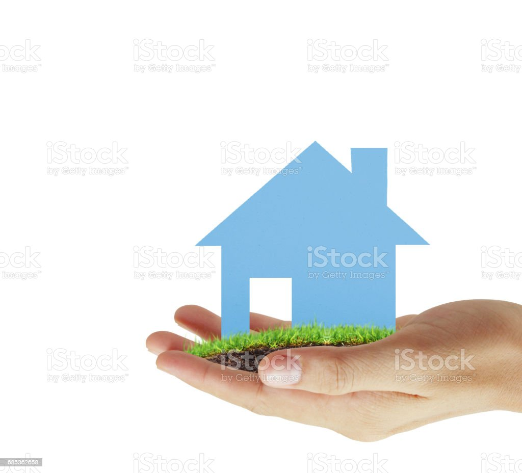 house in human hands royalty-free stock photo