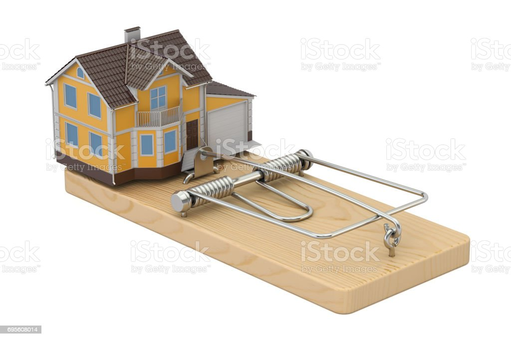 House In Mousetrap, 3D rendering isolated on white background stock photo